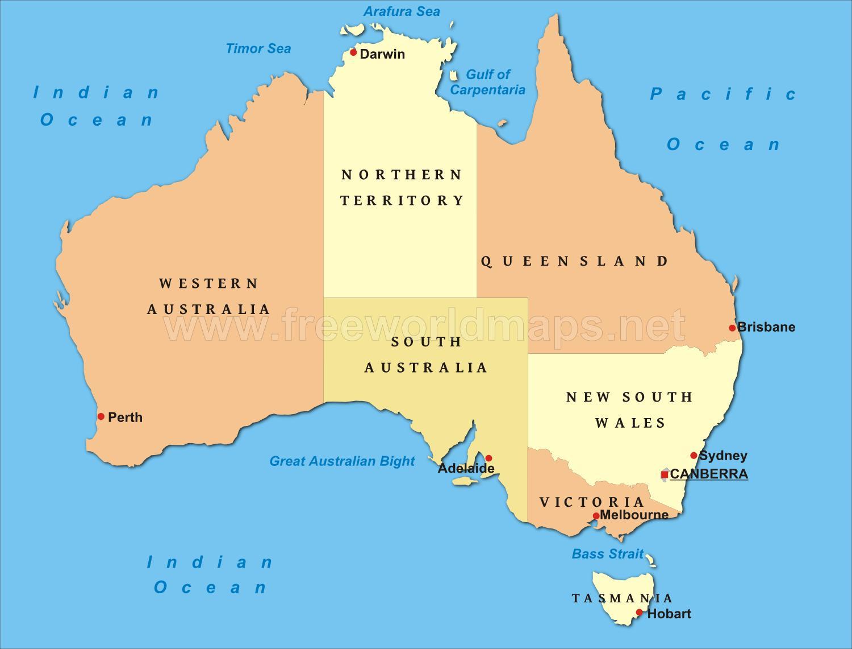 Carte Australie Principales Villes.L Australie Grandes Villes De La Carte Carte De L