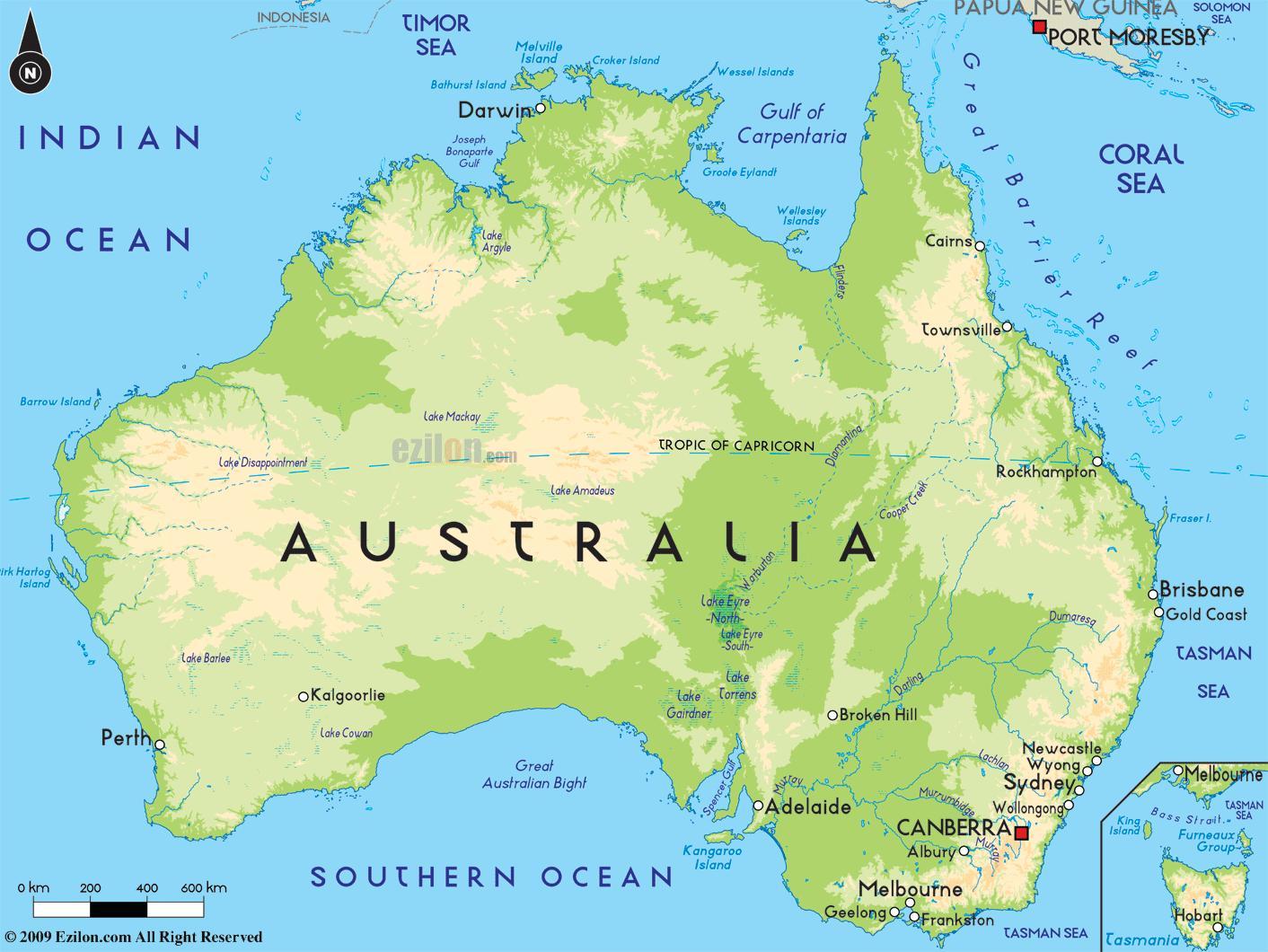 L Australie Sur La Carte Carte De L Australie L Australie Et La Nouvelle Zelande Oceanie