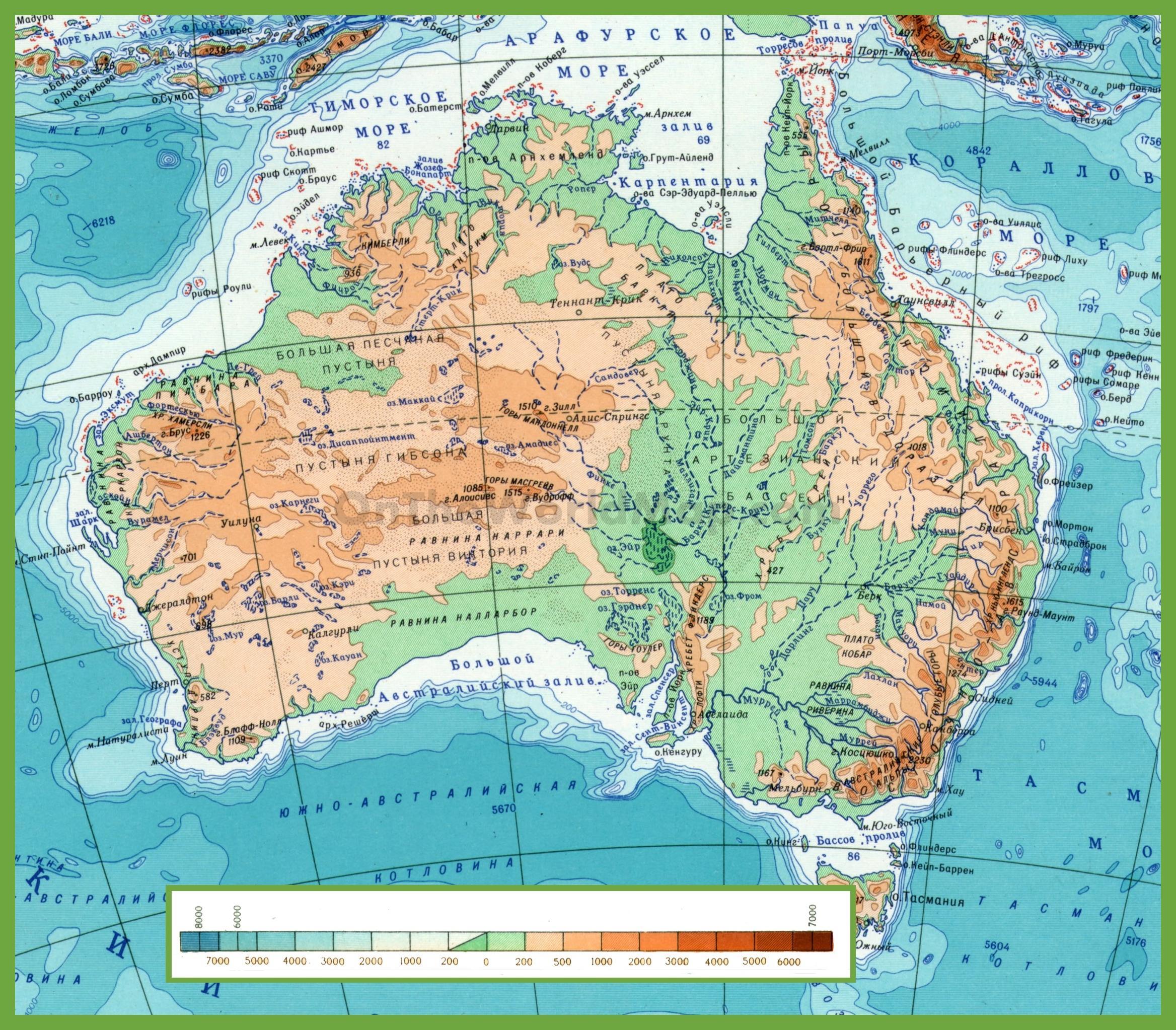 Carte Australie Montagnes.Montagnes En Australie Carte Carte De L Australie Avec Des