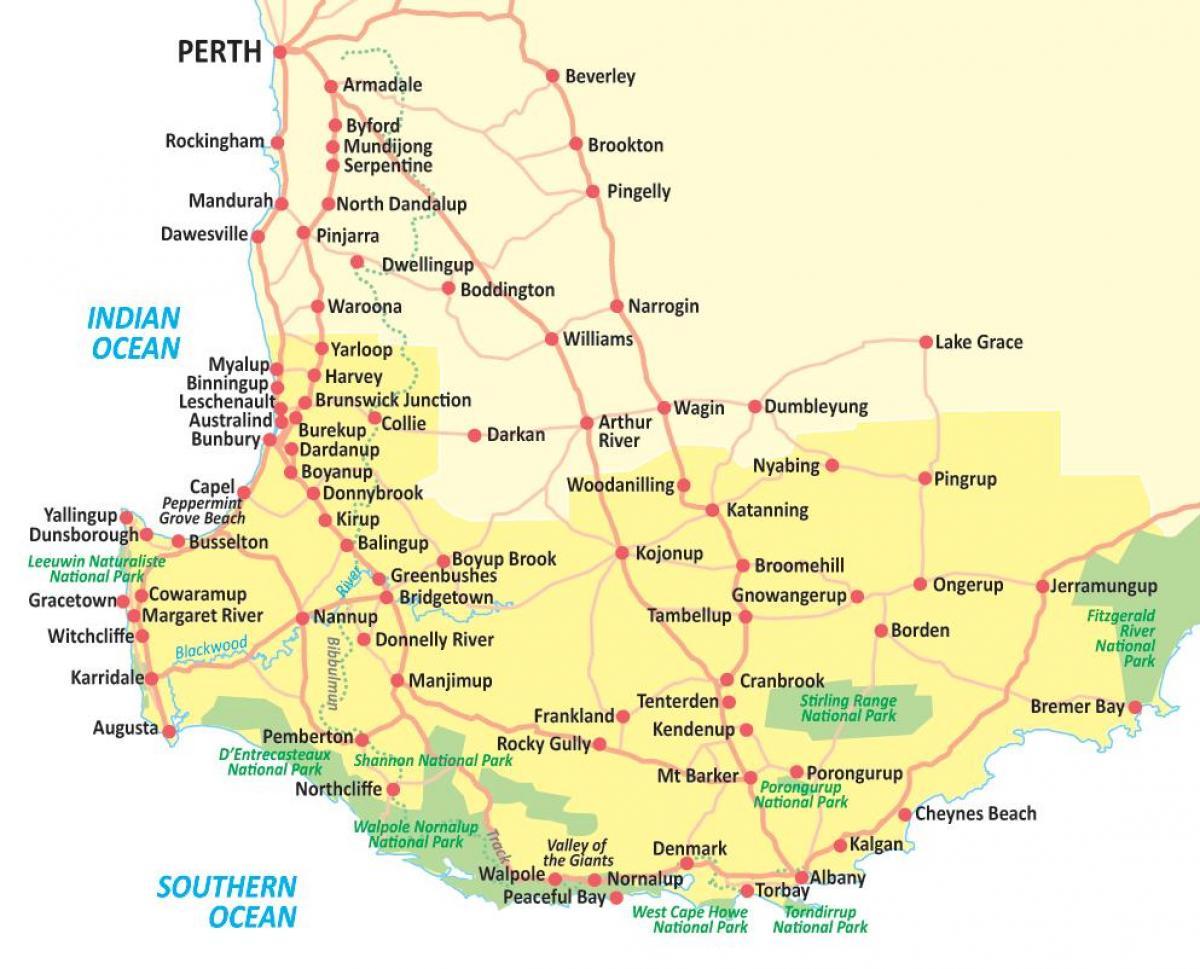 Carte Australie Sud.Le Sud Ouest De L Australie Carte Carte Du Sud Ouest De L